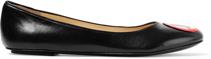 Moschino Moschino Appliqu&eacuted leather ballet flats