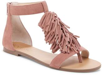 Sole Society 'Koa' Fringe T-Strap Flat Sandal