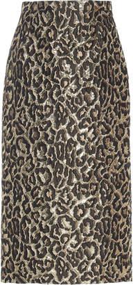 Rochas Oncidium Leopard-Print Brocade Midi Skirt
