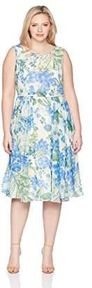 Gabby Skye Women's Plus Size Sleeveless Chiffon Floral Dress