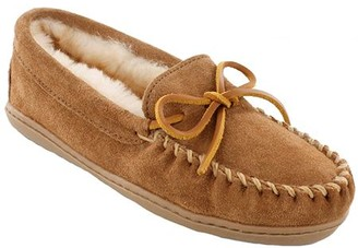 Minnetonka Leather Moccasin Slippers - Sheepskin Hardsole Moc
