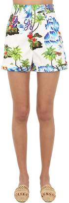 Stella Jean Floral Printed Cotton Shorts
