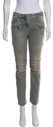 Balmain Mid-Rise Moto Jeans w/ Tags