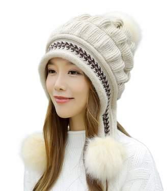 7eadb6c10ec0a E.Joy Online Women Peruvian Earflap Beanie Hat Knitted Pom Winter Snow Ski  Hat Ladies
