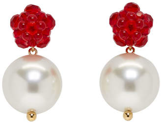 Simone Rocha Red Flower and Pearl Earrings