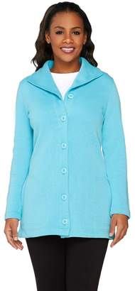 Denim & Co. Active Rib Knit Button Front Long Sleeve Jacket