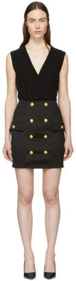 Balmain Black Sleeveless Gold Button Mini Dress