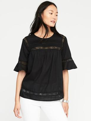 Pintucked Lace-Trim Blouse for Women $32.99 thestylecure.com