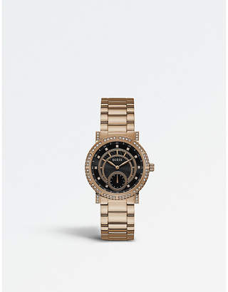 GUESS W1006L2 Constellation PVD rose gold-plated stainless steel watch