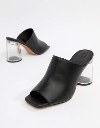 clear ASOS DESIGN Hesitate Block Heeled Mules