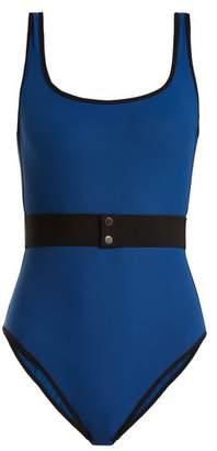 Diane von Furstenberg Scoop Neck Waist Belt Swimsuit - Womens - Blue