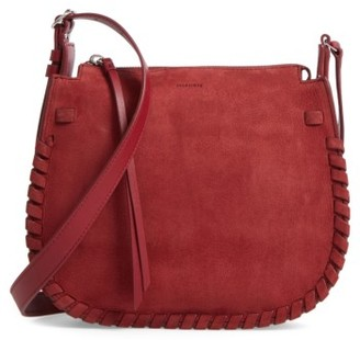 Allsaints Ray Nubuck Crossbody Bag - Red $278 thestylecure.com