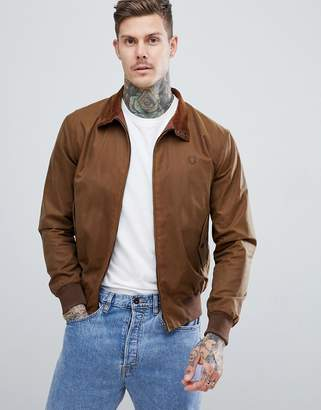 Fred Perry Reissues made in england waxed harrington jacket in tobacco