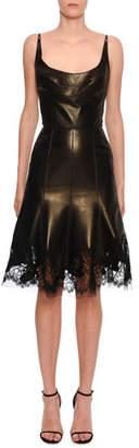 Ermanno Scervino Sleeveless Metallic-Leather Lace Hem Dress