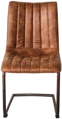 Hudson Living Pair of Edington Faux Leather Dining Chairs - Brown