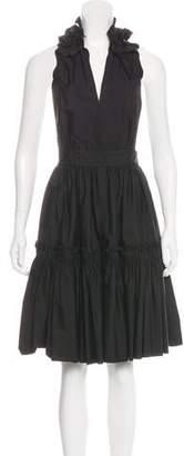 Saint Laurent Halter Pleated Dress