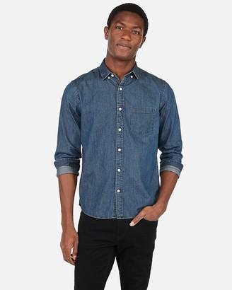 Express Classic Denim Soft Wash Button-Down Shirt