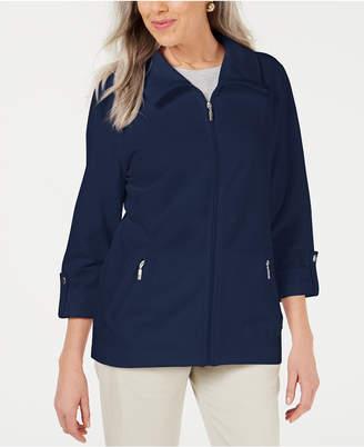 Karen Scott Zip-Front Casual Knit Jacket