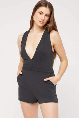 A Love Like You Plunging Tie Back Cupro Romper Charcoal S