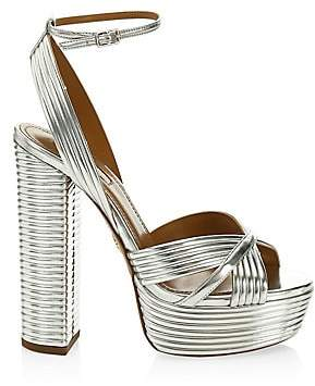 Aquazzura Women's Sundance Plateau Metallic Sandals