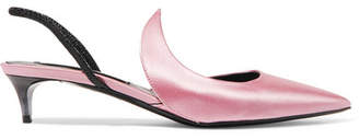 Matteo Mars - Kitten Ala Satin And Patent-leather Slingback Pumps - Baby pink