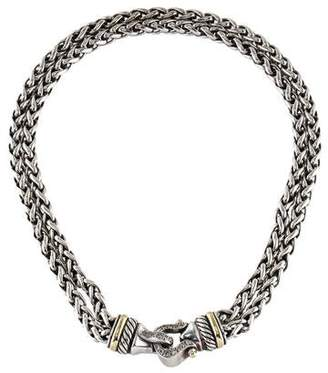 David Yurman Diamond Buckle Double Wheat Chain Necklace