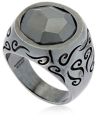 ara Engraved Silver Ring W/ Stone