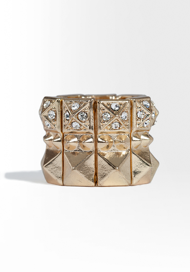 Pyramid Stud & Crystal Stretch Ring