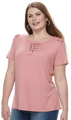 a6f88a58b52 ... Laundry by Shelli Segal Plus Size French Grommet Lace-Up Top