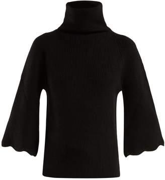 RED Valentino Roll-neck scalloped-cuff wool sweater