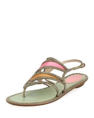 Rene Caovilla Satin Embellished Flat Sandal