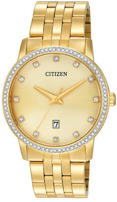 Citizen Quartz Citizen Mens Crystal-Accent Gold-Tone Stainless Steel Watch BI5032-56P