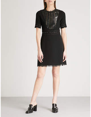 The Kooples Faux-leather and lace-trim crepe mini dress