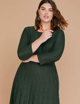 Lane Bryant 3/4 Sleeve Textured Fit & Flare Sweater Dress