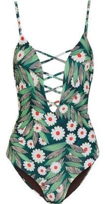 Mara Hoffman Lattice-trimmed Printed Swimsuit
