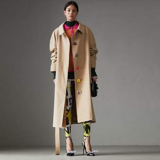 Burberry Painted Button Tropical Gabardine Car Coat
