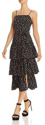 Olivaceous Floral Tiered-Hem Dress