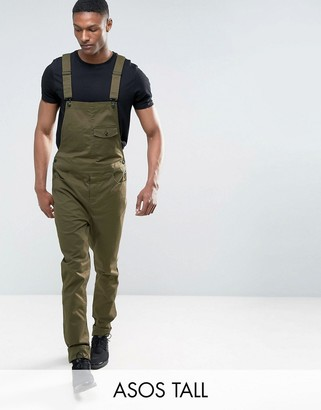 ASOS TALL Slim Chino Overalls in Khaki $64 thestylecure.com
