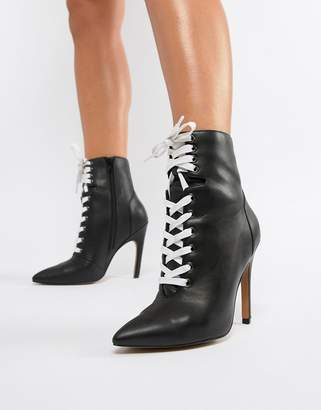Asos Design DESIGN Elaina Point Lace Up Boots