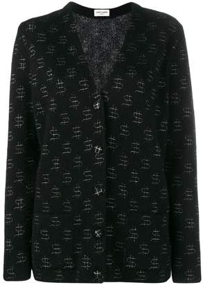 Saint Laurent dollar print oversize cardigan