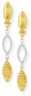 Gurhan Willow 24k Gold & Diamond Triple-Drop Earrings