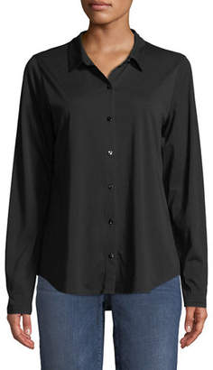 Eileen Fisher Organic Cotton Jersey Collared Shirt