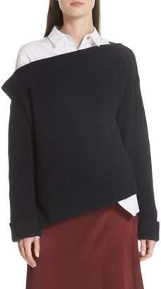 Vince Asymmetric Ribbed Cashmere Pullover