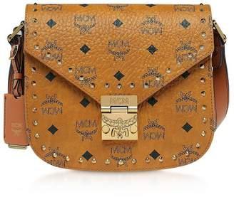 MCM Small Cognac Patricia Studded Outline Visetos Shoulder Bag