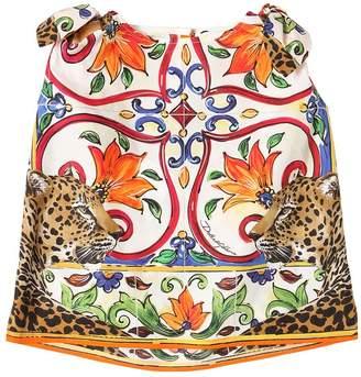Dolce & Gabbana Maiolica & Leopard Cotton Poplin Top