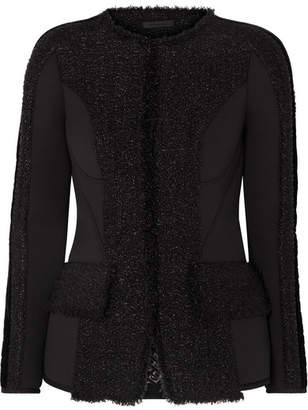 Alexander Wang Velvet-trimmed Tweed And Scuba Jacket - Black