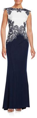 Tadashi Shoji Embellished Colorblock Gown $519 thestylecure.com