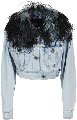 Prada Feathered Collar Denim Jacket