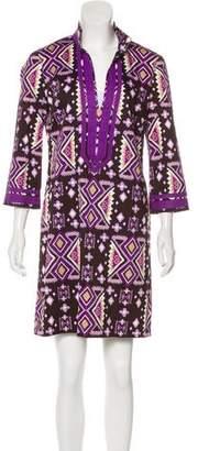 Tory Burch Printed Long Sleeve Mini Dress