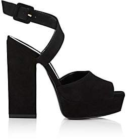 Saint Laurent Women's Debbie Suede Platform Sandals - Nero